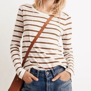 New! Madewell Whispering Cotton Stripe Long Sleeve